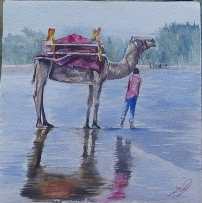 Painting: Camel with shadow