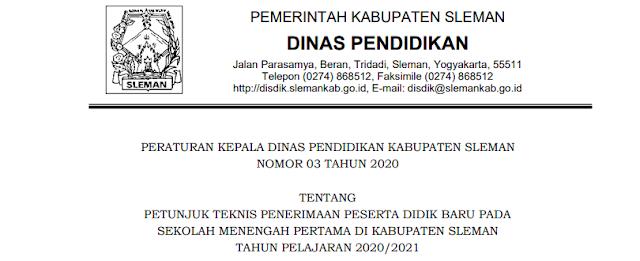 Jadwal Pendaftaran Zonasi dan Juknis PPDB SMP Se Kabupaten Sleman Tahun Pelajaran 2020/2021