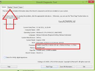 lihat ram laptop dxdiag