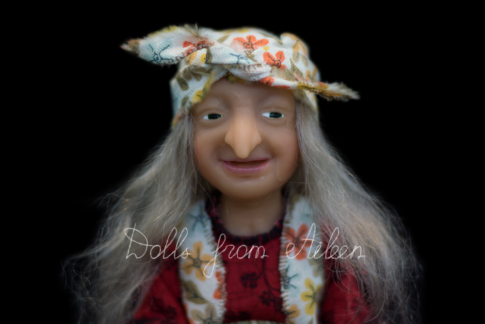 ooak miniature 'Baba Yaga' witch art doll's face