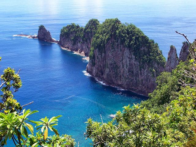 Vista desde la costa de Samoa Americana.