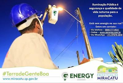 Miracatu tem um empresa contratada para realizar a manutenção da Iluminação Pública