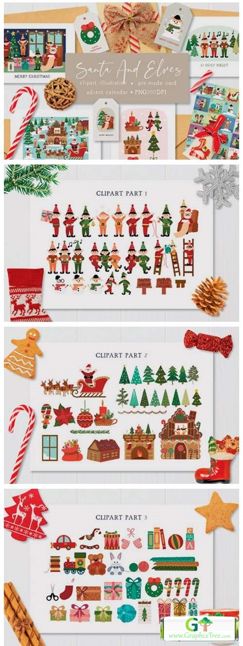 Santa and Elves Clipart Illustration [Vector] [Holiday & Party]