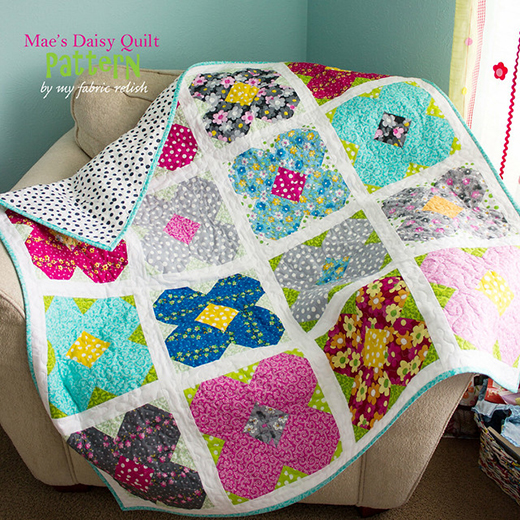Mae's Daisy Quilt Free Pattern Designed by Melissa from My Fabric Relish