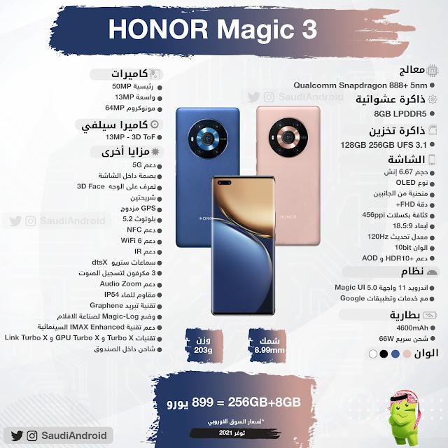 انفوجرافيك : مواصفات & مميزات هاتف هونر ماجيك 3 Honor Magic 3