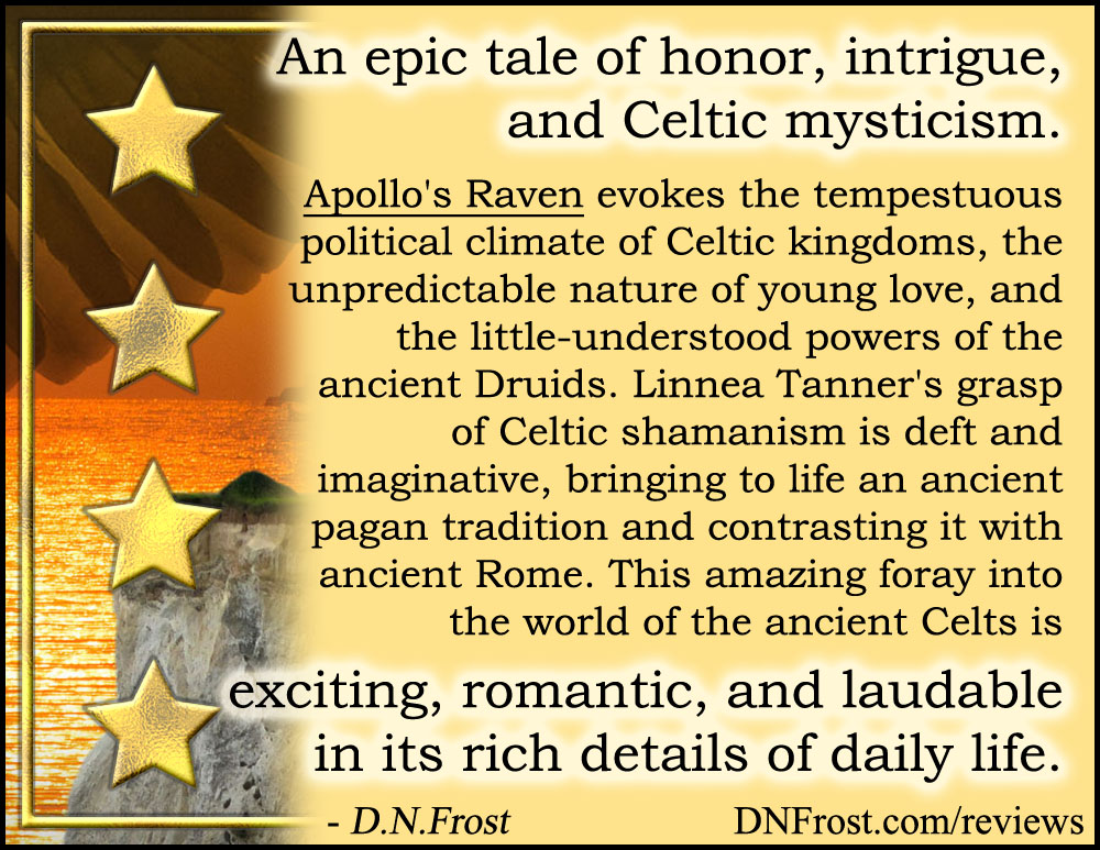 Review image from Apollo's Raven by Linnea Tanner: romantic tale of intrigue and Celtic mysticism http://www.dnfrost.com/2017/04/apollos-raven-by-linnea-tanner-book.html A book review by D.N.Frost @DNFrost13 Part 7 of a series.