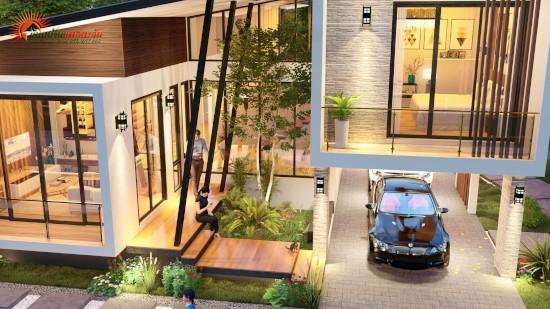 11 desain rumah modern 2 lantai dengan 3 kamar tidur