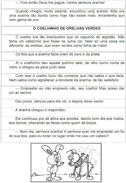 O COELHINHO DE ORELHAS VERDES em trechos desordenados para recortar