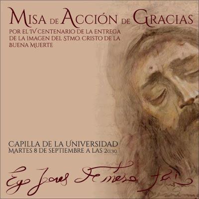 El 8 de septiembre Los Estudiantes de Sevilla celebrará Santa Misa en el IV Centenario del Cristo de la Buena Muerte