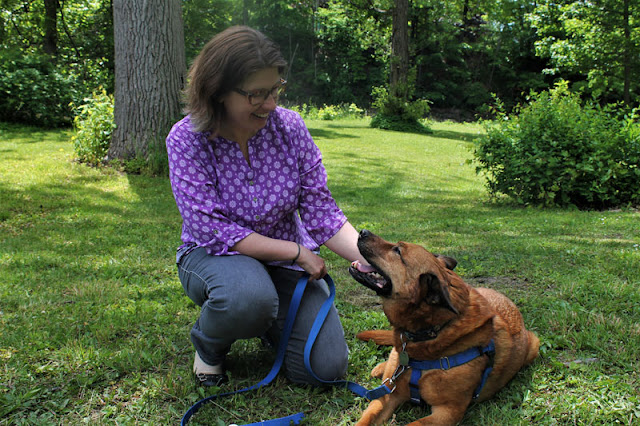 Christy Hoffman with her dog Grizzly