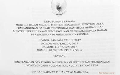 SKB 4 Menteri tentang Penyelarasan dan Penguatan Kebijakan Percepatan Pelaksanaan Undang-Undang Nomor 6 Tahun 2014 tentang Desa