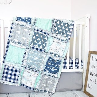 Bears, teepees, and arrows crib bedding and rag quilt