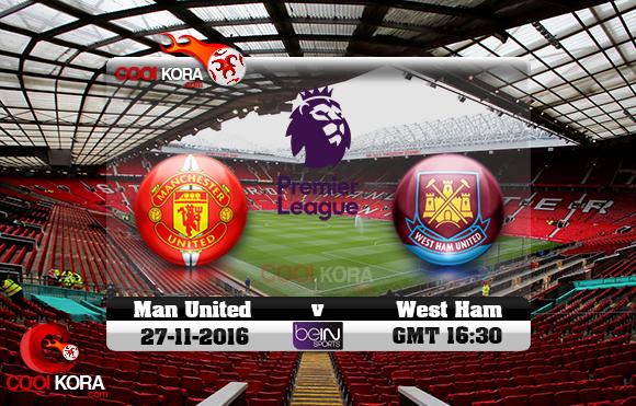 مشاهدة مباراة مانشستر يونايتد ووست هام اليوم 27-11-2016 في الدوري الإنجليزي