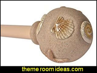 Sandy Shells in Cream, Curtain Rod  seaside cottage decorating ideas - coastal living living room ideas - beach cottage coastal living style decorating ideas - beach house decor - seashell decor - nautical bedroom furniture