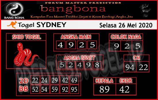 Prediksi Sydney Selasa 26 Mei 2020 - Bang Bona