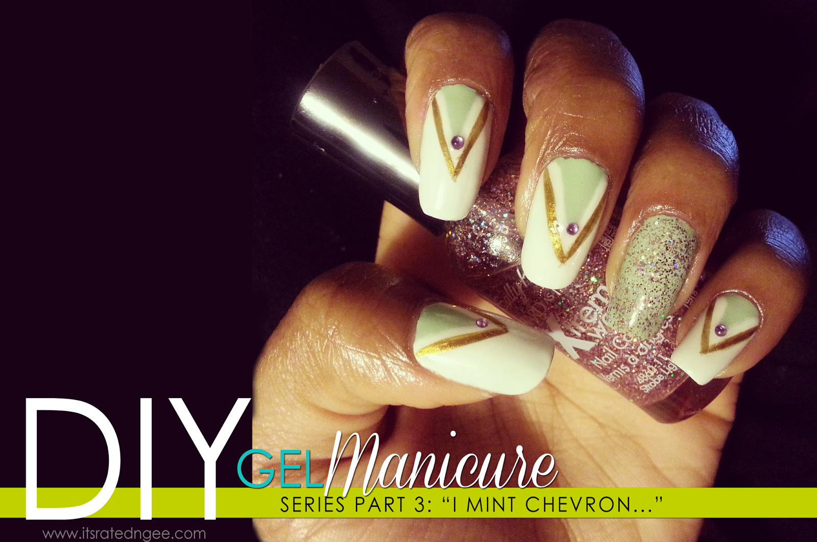 diy gel manicure mint chevron nails