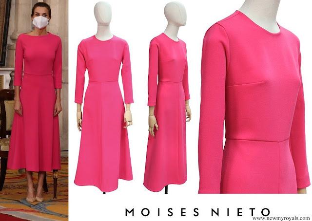 Queen Letizia wore a fuchsia dress by Moises Nieto