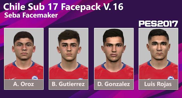 PES2017 Chile Sub 17 Facepack Vol. 16 by Seba