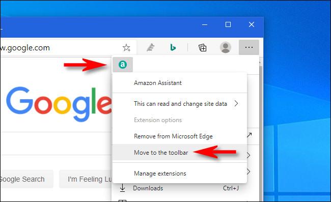 """في Edge ، انقر بزر الماوس الأيمن فوق رمز الامتداد وحدد """"نقل إلى شريط الأدوات""""."""