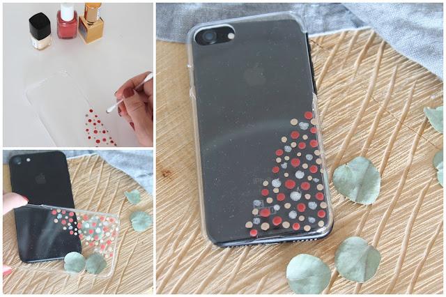DIY transparente Handyhuelle mit Nagellack Konfetti Polka Dots Jules kleines Freudenhaus