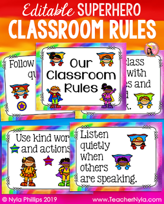 Editable Superhero Classroom Rule Posters