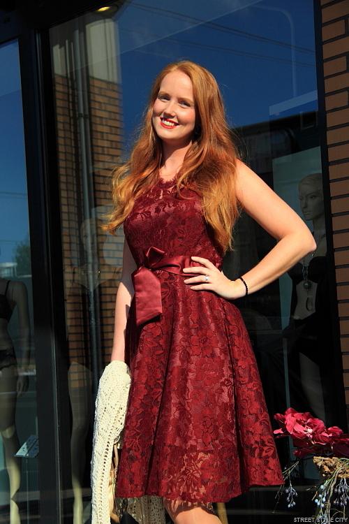 Street Style Red Vintage Lace Dress