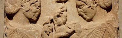 setas en una estela funeraria griega