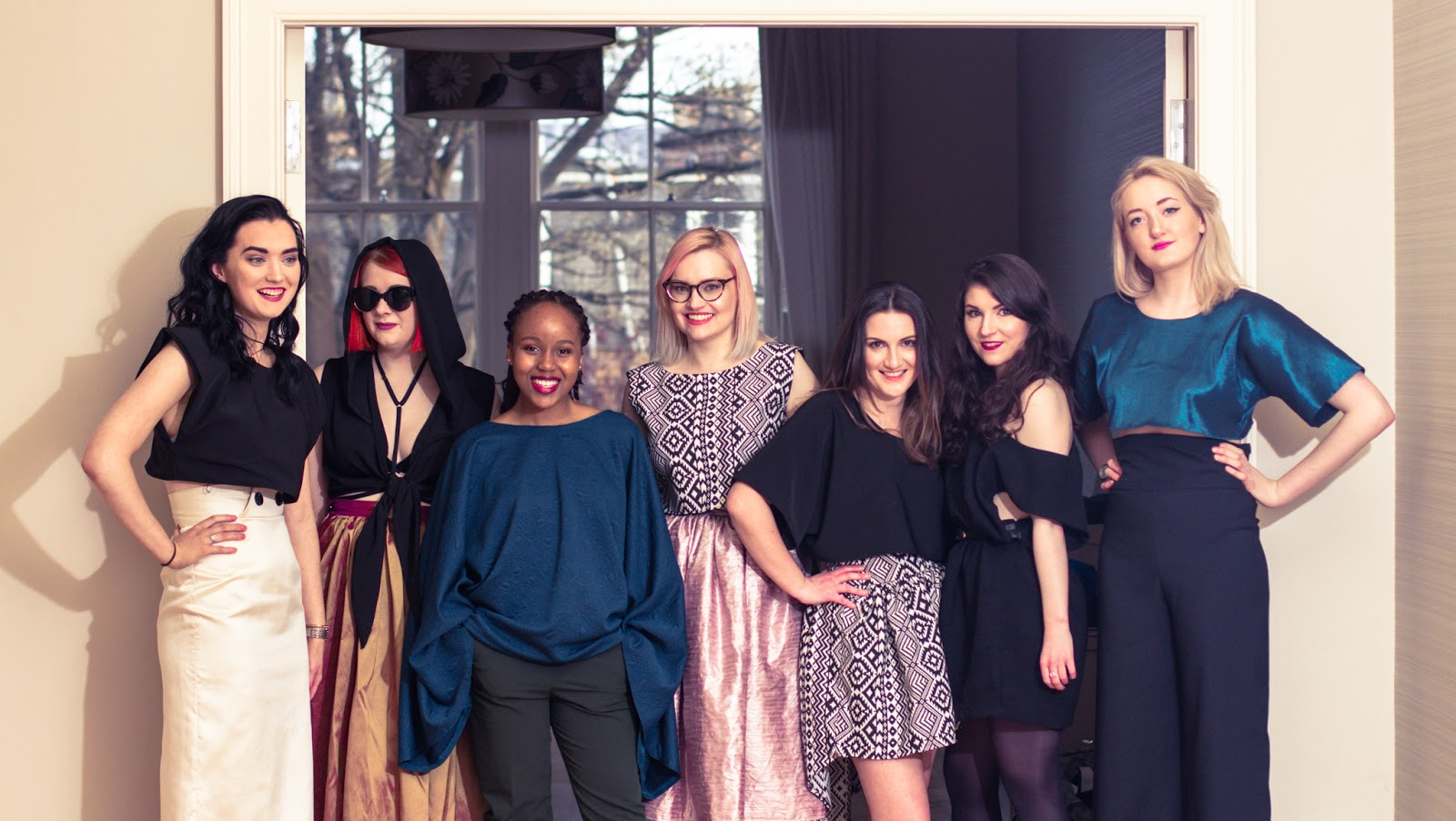 Group of Scottish bloggers model for Edinburgh brand I dream of Shapes which sells hand made clothes