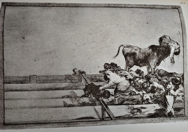 Goya's etching of a bull on stairs having trampled a bunch of people.