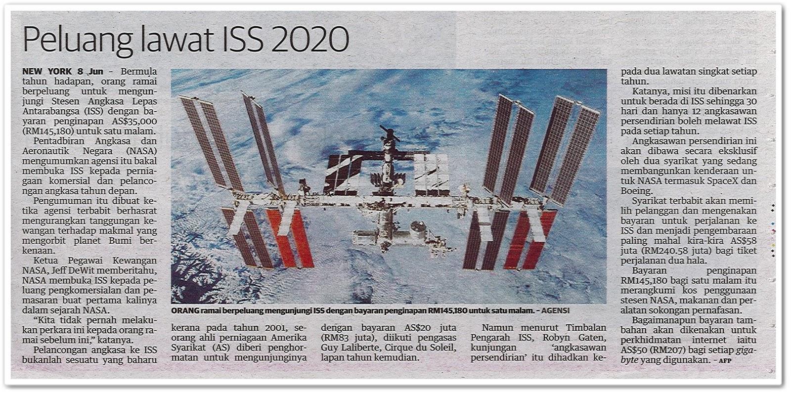 Peluang lawat ISS 2020 - Keratan akhbar Utusan Malaysia 9 Jun 2019
