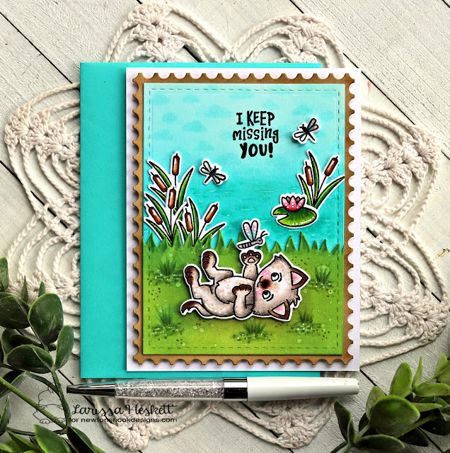 Missing You cat and dragonfly card by Larissa Heskett | Captivated Kittens Stamp Set, Framework Die Set and Winston's Lake House Stamp Set by Newton's Nook Designs #newtonsnook