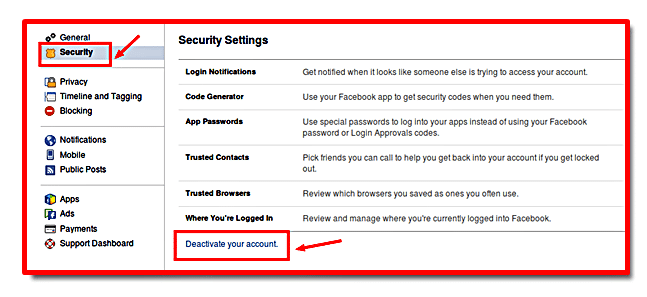Disable facebook account in the account setups web page choose protection from the menu on the left scroll down the page situate as well as select the deactivate your account ccuart Gallery