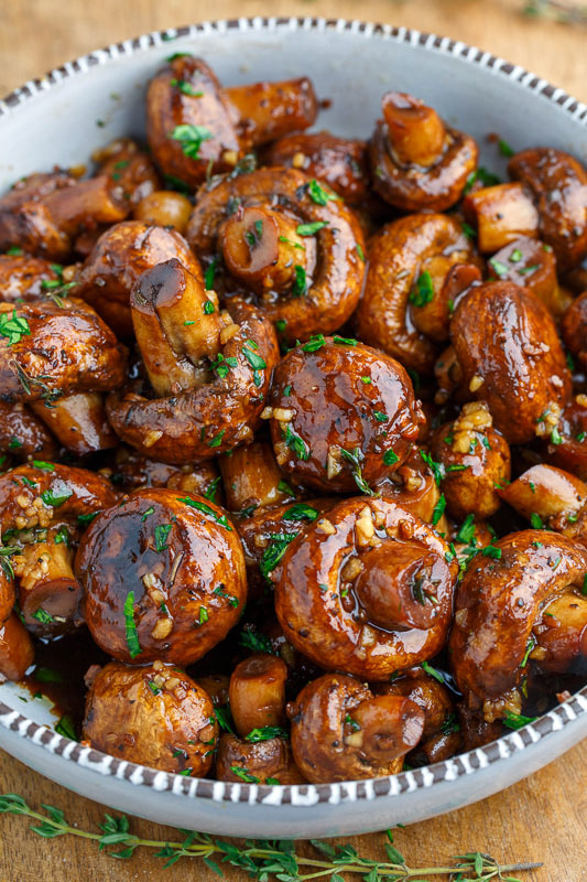 Balsamic Soy Roasted Garlic Mushrooms #dinner #mushroom #food #healthy #recipes
