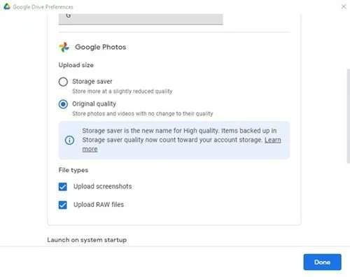 شرح عمل نسخة احتياطية من الصور على  صور Google