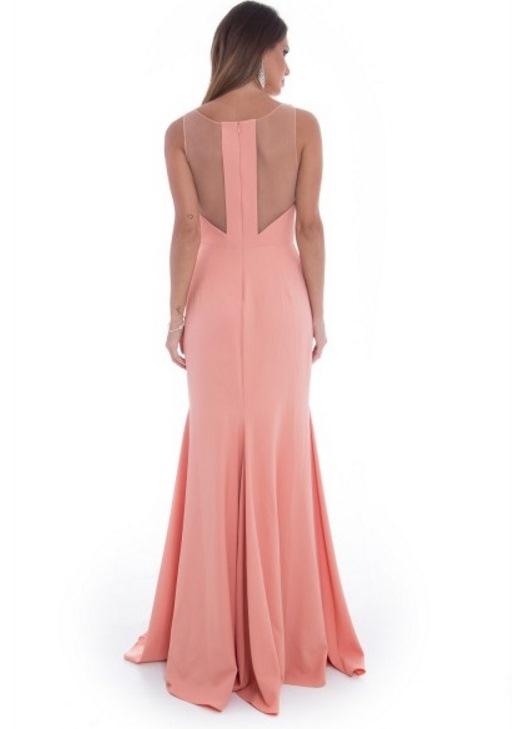 vestido de festa pêssego ou salmão