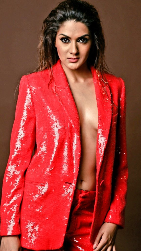 Sakshi Chowdary in shirtless Red shiny blazer