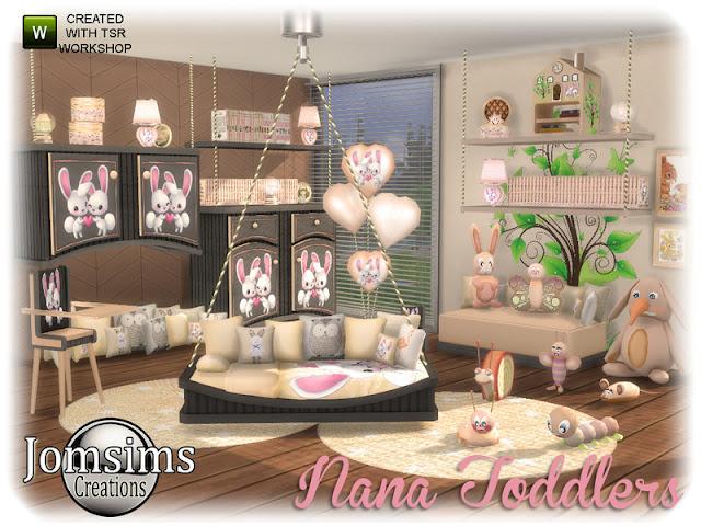 Nana toddlers bedroom Спальня малышей Нана для The Sims 4 11 новых предметов. Постель. набор подушек микс, настольная лампа, кресло для сидения, 2 комода. Миско деко полка. Горшок, стульчик. набор в 4 цветах. приятная атмосфера для ваших малышей. Автор: jomsims