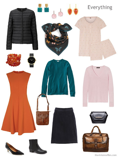 tiny travel capsule wardrobe for cool weather in black, teal, orange and pink