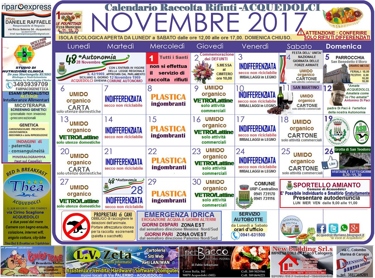 Il Tuo Quartiere Non E Una Discarica Calendario 2020 Municipi Dispari.Raccolta Differenziata Il Calendario Del Mese Di Novembre
