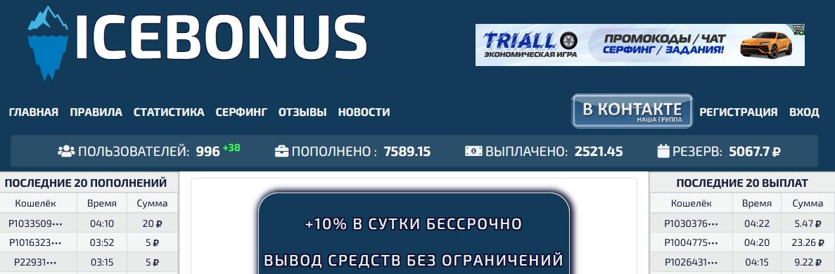 Мошеннический сайт icebonus.site – Отзывы, развод, платит или лохотрон? Информация