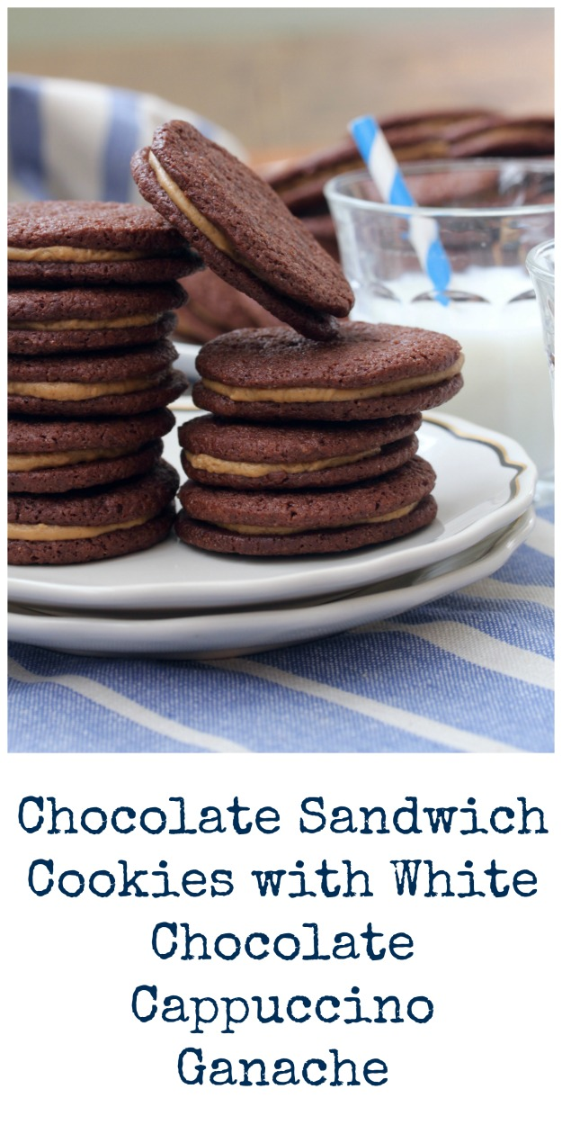 Chocolate Sandwich Cookies with White Chocolate Cappuccino Ganache
