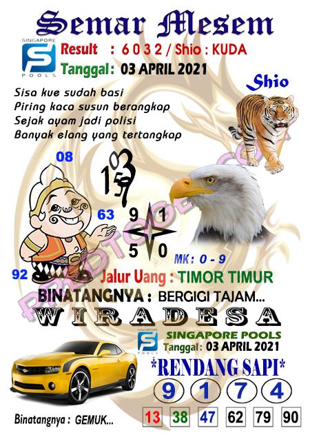 Syair Sgp Semar Mesem sabtu 03 april 2021