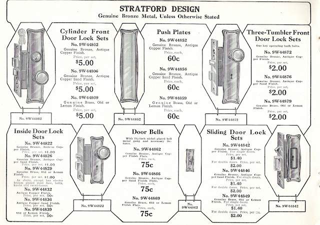 black and white catalog image of Sears Stratford design door handle hardware in the 1915 Sears Building Supplies catalog
