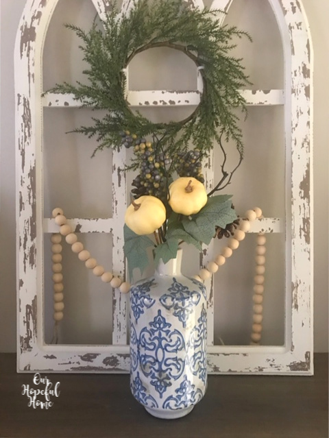 blue white vase farmhouse beads fall floral picks wreath
