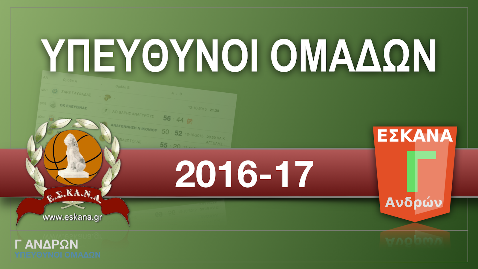 Οι υπεύθυνοι των ομάδων Γ ΑΝΔΡΩΝ 2016-17