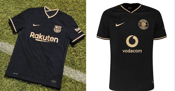 Nike use Kaizer Chiefs 50-years anniversary club jersey design as Barcelona 2nd kit