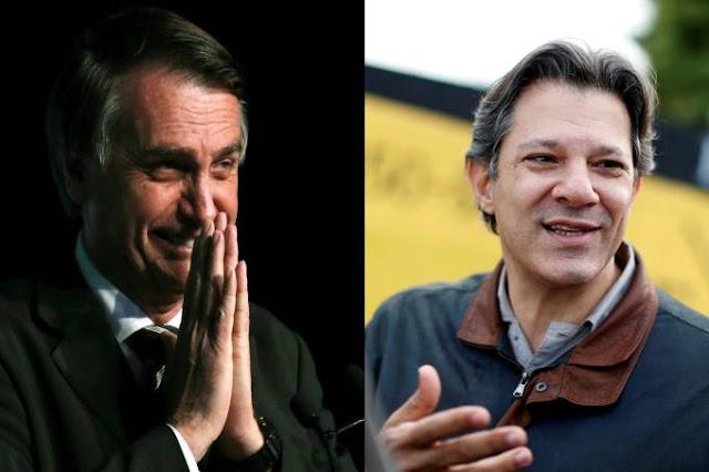 Ibope: Bolsonaro derrota Haddad no 2º turno no limite da margem de erro