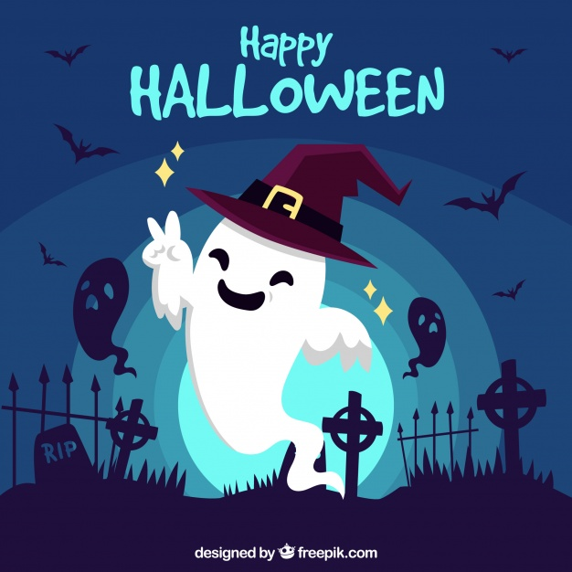 Happy halloween background with funny ghost Free Vector