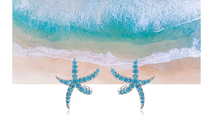 跳舞藍海星鋯石 925純銀耳環