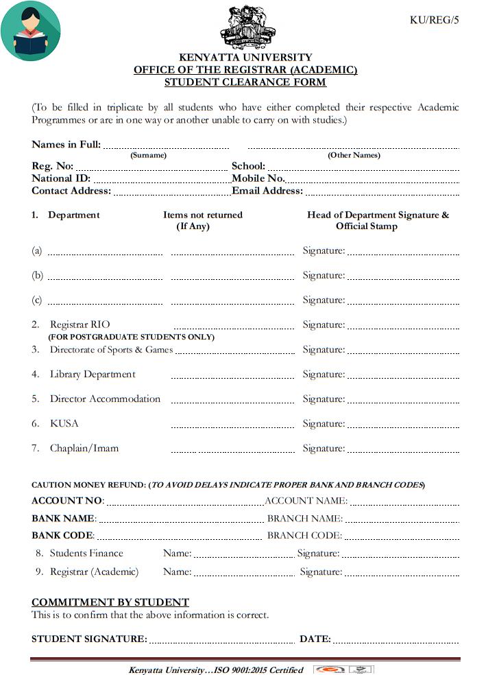 Download Kenyatta University (KU) Clearance Form [PDF]